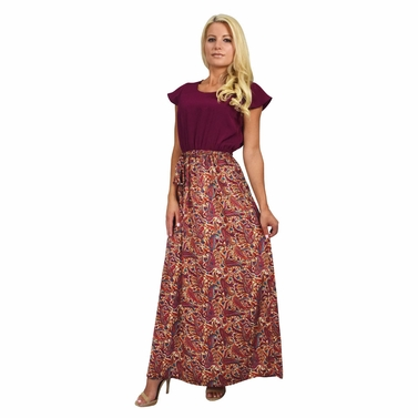 Pampered in Paisley Maxi Dress in Burgundy