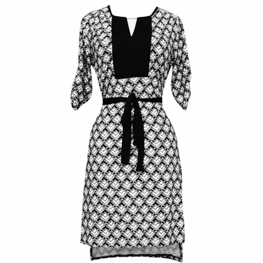 High Low Geometric Goddess Dress (Black and White)
