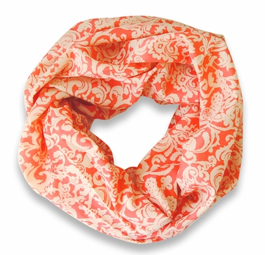 Peach Couture Women's Henna Print Infinity Loop Scarves (Coral/Creme)
