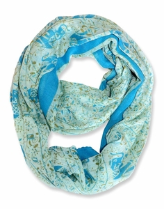 Aztec Tribal Elephant Colored Border Infinity Loop Wrap Scarf  (Baby Blue)