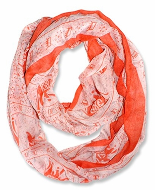 Aztec Tribal Elephant Colored Border Infinity Loop Wrap Scarf  (Red/Orange)