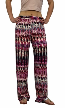 Peach Couture Womens Colorful Pattern Elastic Waist Printed Palazzo Pants Abstract Pink Cream