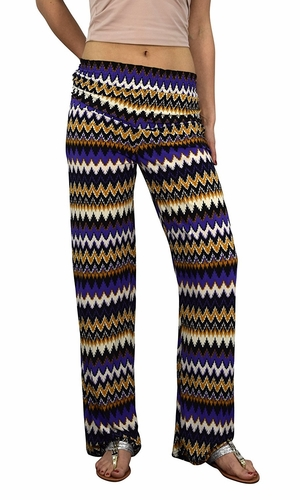 Peach Couture Womens Colorful Pattern Elastic Waist Printed Palazzo Pants Boho Chevron Purple