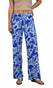 Peach Couture Womens Colorful Pattern Elastic Waist Printed Palazzo Pants Floral Blue