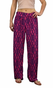 Peach Couture Womens Colorful Pattern Elastic Waist Printed Palazzo Pants Geometric Hot Pink