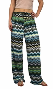 Peach Couture Womens Colorful Pattern Elastic Waist Printed Palazzo Pants Tribal Chevron Teal