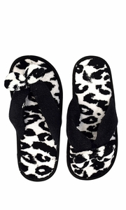 Peach Couture Womens Fleece Lined Relaxing Nordic Style House Slippers Black Leopard