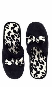 Peach Couture Womens Fleece Lined Relaxing Nordic Style House Slippers Black Leopard 2