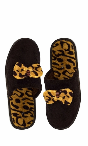 Peach Couture Womens Fleece Lined Relaxing Nordic Style House Slippers Brown Leopard 2