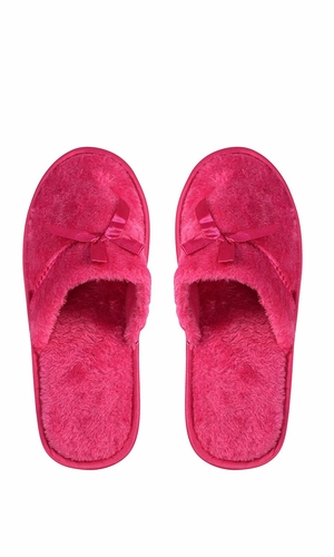 Peach Couture Womens Fleece Lined Relaxing Nordic Style House Slippers Fuchsia Solid