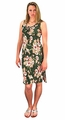 Peach Couture Womens Floral Print Sleeveless Pleat Fabric Bodycon Dress Olive