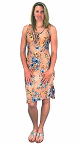 Peach Couture Womens Floral Print Sleeveless Pleat Fabric Bodycon Dress Peach