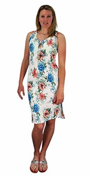Peach Couture Womens Floral Print Sleeveless Pleat Fabric Bodycon Dress White