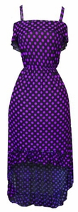 Yes You Can-Can Ruffle Dress in Black & Purple