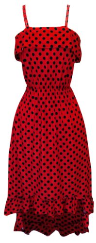 Peach Couture Womens Hipster Retro Polka Dot High Low Maxi Dress with Ruffled Hem (Medium, Red)