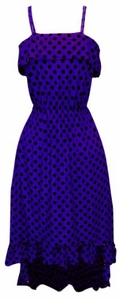 Peach Couture Womens Hipster Retro Polka Dot High Low Maxi Dress with Ruffled Hem (Violet)