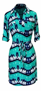 Peach Couture Womens Multi Pattern V Neck Shift ¾ Sleeve Waist Tie Shift Dress (Medium, Aqua)