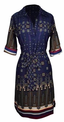 Multi Pattern V Neck Shift ¾ Sleeve Waist Tie Shift Dress (Navy & Maroon)