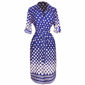Multi Pattern V Neck Shift ¾ Sleeve Waist Tie Shift Dress ( Navy & White Polka Dot)