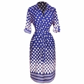 Multi Pattern V Neck Shift � Sleeve Waist Tie Shift Dress ( Navy & White Polka Dot)