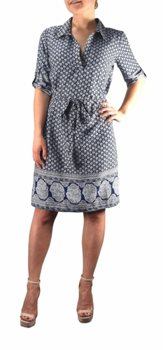 Multi Pattern V Neck Shift ¾ Sleeve Waist Tie Shift Dress (Navy White Floral)