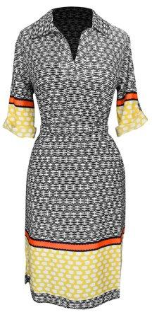 Multi Pattern V Neck Shift ¾ Sleeve Waist Tie Shift Dress (Yellow & Orange)