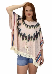 Peach Couture Womens Peacock Light weight Summer Poncho Cardigan Cover Up Pink