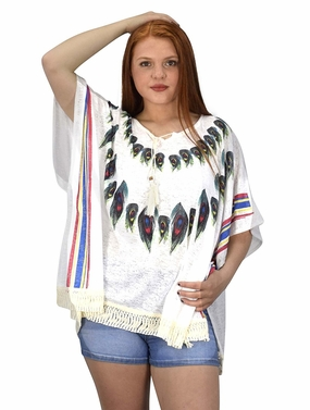 Peach Couture Womens Peacock Light weight Summer Poncho Cardigan Cover Up White