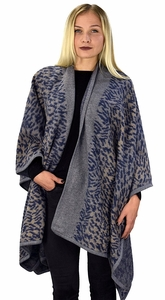 Peach Couture Womens Thick Warm Geometric Striped Poncho Blanket Wrap Shawl (Abstract Navy)