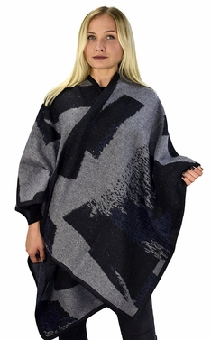 Peach Couture Womens Thick Warm Geometric Striped Poncho Blanket Wrap Shawl (Colorblock Black/Grey)