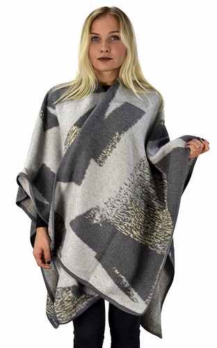 Peach Couture Womens Thick Warm Geometric Striped Poncho Blanket Wrap Shawl (Colorblock Grey)