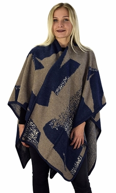 Peach Couture Womens Thick Warm Geometric Striped Poncho Blanket Wrap Shawl (Colorblock Navy/Taupe)