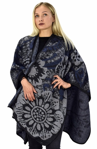 Peach Couture Womens Thick Warm Geometric Striped Poncho Blanket Wrap Shawl (Floral Black)