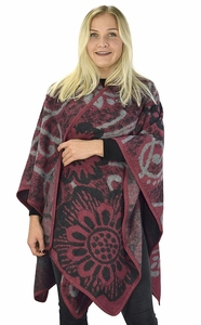 Peach Couture Womens Thick Warm Geometric Striped Poncho Blanket Wrap Shawl (Floral Maroon)