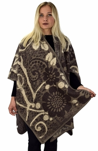 Peach Couture Womens Thick Warm Geometric Striped Poncho Blanket Wrap Shawl (Floral Taupe) �