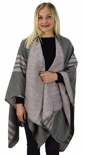 Peach Couture Womens Thick Warm Geometric Striped Poncho Blanket Wrap Shawl (Striped Pink/Grey)