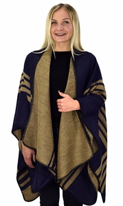 Peach Couture Womens Thick Warm Geometric Striped Poncho Blanket Wrap Shawl (Striped Taupe/Navy)
