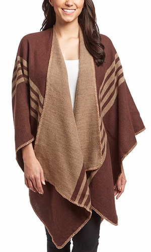 Peach Couture Womens Thick Warm Geometric Striped Poncho Blanket Wrap Shawl (Wine)