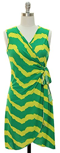 Peach Couture Zig Zag Chevron Print Lightweight Self Tie Side Wrap Dress (Large, Green)