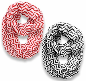 New Trendy Lightweight & Sheer Classic Chevron Infinity Loop Scarf (Red/Black, 36x40)