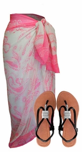 Pink & White Paisley Sarong w/ Orange Catalina Sandal