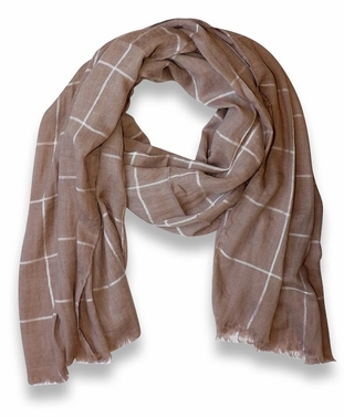 Plaid Stripe Checkered Light Eyelash Fringe Beach Scarf (Tan)