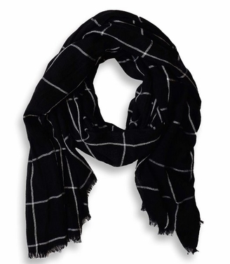 Plaid Stripe Checkered Pattern Lightweight Eyelash Fringe Scarf (Black)