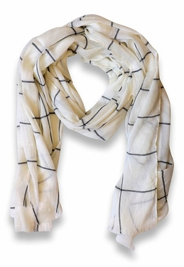 Plaid Stripe Checkered Pattern Lightweight Eyelash Fringe Scarf (Cream)