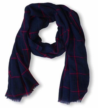 Plaid Stripe Checkered Pattern Lightweight Eyelash Fringe Scarf (Navy)