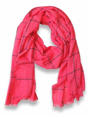 Plaid Stripe Checkered Pattern Lightweight Eyelash Fringe Scarf (Pink)