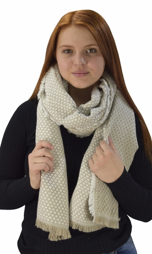 Plaid Tartan Herringbone Reversible Oversized Winter Blanket Scarf Cream