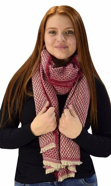 Plaid Tartan Herringbone Reversible Oversized Winter Blanket Scarf Maroon