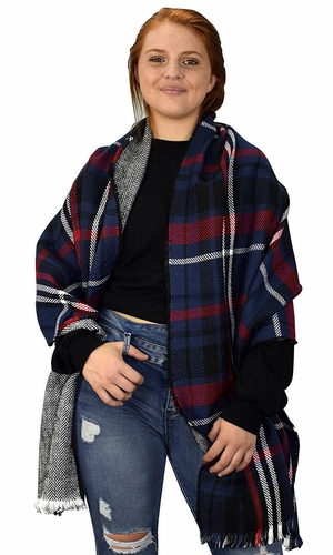 Plaid Tartan Herringbone Reversible Winter Blanket Scarf Navy/Red 90