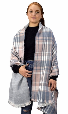 Plaid Tartan Herringbone Reversible Winter Blanket Scarf Pink/Grey 90